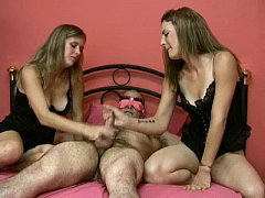 Blindfolded man gets a surprised handjob from h...
