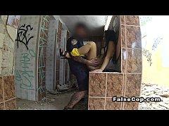 Fake cop fucks hottie in ruined building