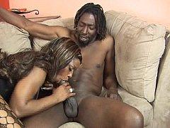 2 big tits ebony hotties share a big black cock
