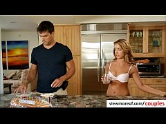 Sexy blonde tenant Averi Brooks seduces her landlord for a threesome