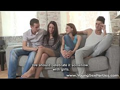 Young Sex Parties - Teen chicks sharing stiff d...