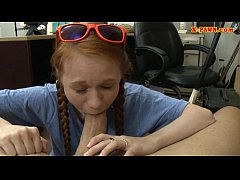 Redhead sweetie banged at the pawnshop
