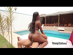 Ebony big booty shemale fucked hard