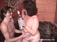 BBW granny likes to drink and fuck