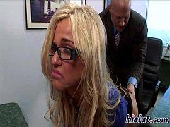 Slutty secretary takes her boss' cock in deep