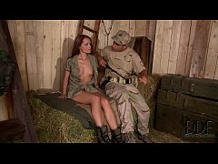 Horny Soldiers Bang Sexy Corporal Sophie Lynx's...