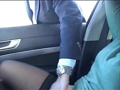 Exhibition of my whore in car fingered by stran...
