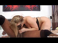 Blonde taking bbc squirts all over the bed