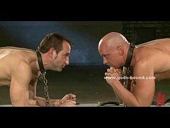 Strong gay master teaching slave bondage