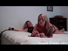 Bella tying up and tickling her boss