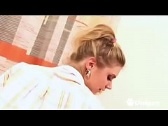 Naughty teen in pigtails fucks her hairy pussy ...