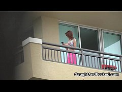 Busty teen fucked on balcony