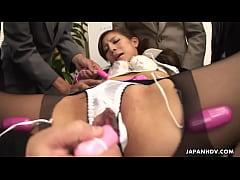 Pantyhose presentation ends with a sloppy creamer