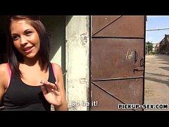 Amateur brunette Euro girl Bianca Pearl banged for money