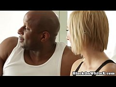 BBC loving white babe takes cream in mouth