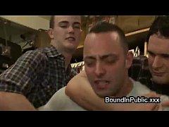Bodybuilder guy orgy fucked in bondage