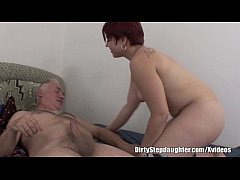Chubby Redhead Stepdaughter Creeps Over Stepfat...