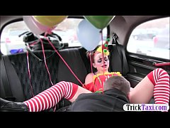 Gal in clown costume fucked by the driver for f...