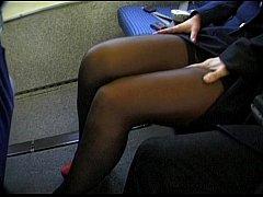 Brunette beauty wearing stewardess uniform gets...