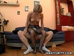 Hot amateur Milf masturbates, sucks and fucks w...