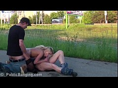 Extreme public street threesome sex with a cute...