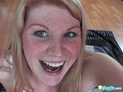 Beautiful blonde Gloria dildoing on the floor