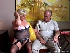 Cute old spunker in sexy stockings loves to suc...