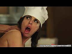 Big tit brunette chef Brandy Aniston loves sloppy sweaty sex