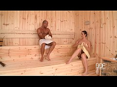 Curvy sauna slut gets her big ass hammered like never before!