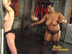 Skinny redhead slut has some dungeon fun with a...