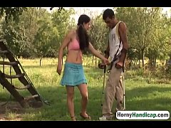 Handicapped Man Gets Lucky Outdoors With Slutty...