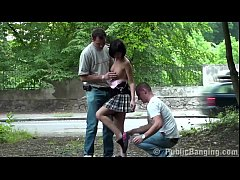 Extreme public street  sex threesome with a pet...