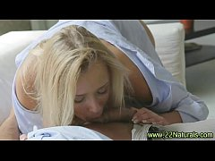 Small breasts blondie gets a mouthful