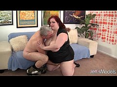 Fat Redhead Gobbles a Guy's Pecker and Gets Fuc...