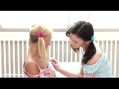 Hot lesbians play with a huge dildo on Sapphic ...