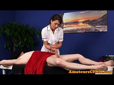 Massage Fetish Blowjob video: British CFNM masseuse tease and blows cock