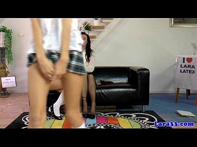 Porno video: Mature teacher with schoolgirls in trio