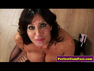 Pov Facial Cum vid: Cocksucking mature doc spunked on face