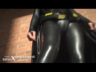 Latex Bondage Sexy video: Batgirl latex cosplay