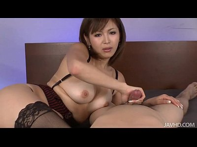 image Sexy tanned mai kuroki in bed playing with a horny guys cock