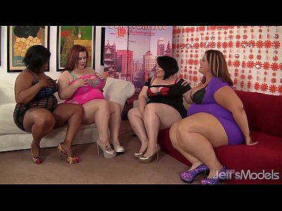 Four plump leabians steaming hot sex 5