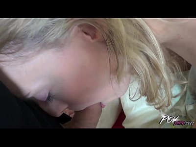 Blonde Blowjob Creampie video: Povbitch Shy skinny blonde teen creampied by stranger when push his ass to him
