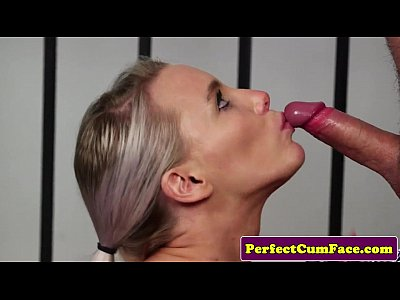 British Cocksucking Cum video: Busty officer babe gets perfect load on face