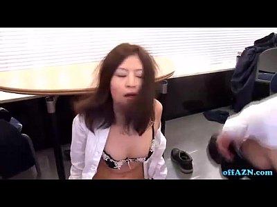 ムチムチ美乳の美白美女OLをオフィスで口内レイプから立ちバックでハメる