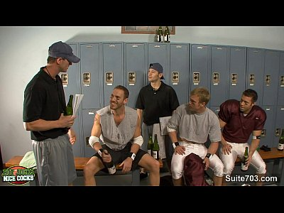 Aexo Gay threesome jocks in locker room