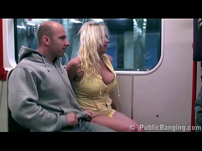 Big tits girl Stella Fox PUBLIC sex threesome in a subway train with 2 guys