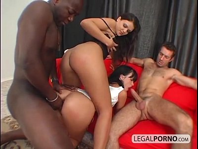 Bigcock Blackcock Foursome video: Two horny brunettes fucked hard by two big cocks SB-4-01