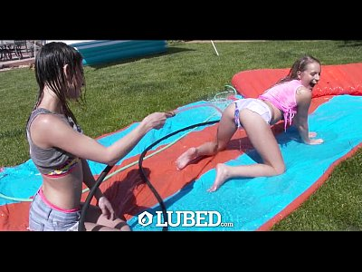 Blowjob Outdoor Threesome video: LUBED - Slip and Slide threesome with Kristen Scott and Scarlett Sage