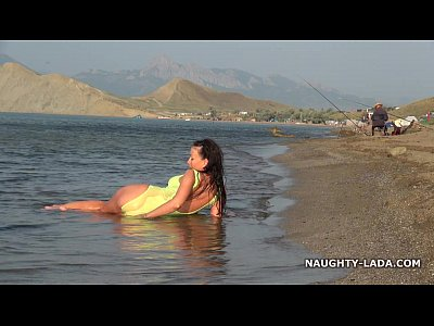 Beach Public Milf video: Transparent swimsuit and nude on the beach
