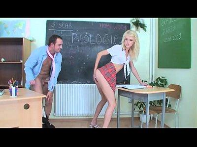 Slutty schoolgirl seduces her teacher in the class